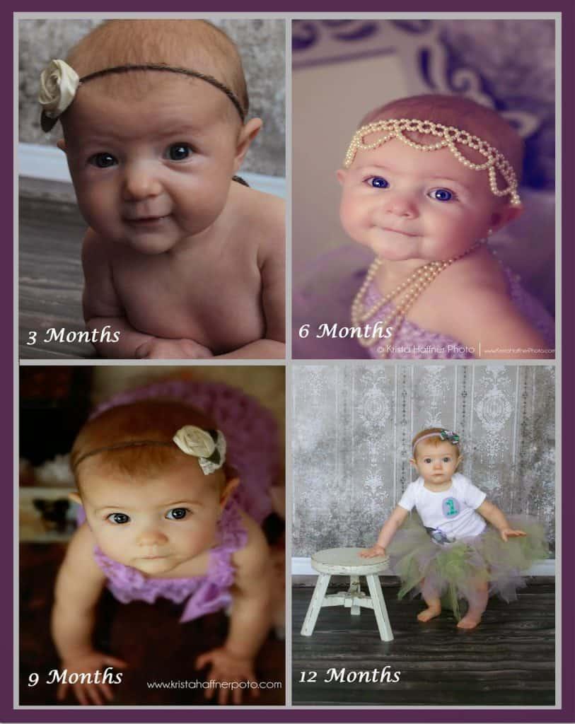 Vintage, Milestone, Baby, Pictures, Purple, Green