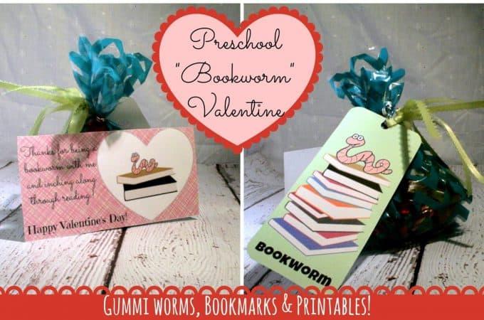 """Preschool DIY """"Bookworm"""" Valentines #Printables!"""