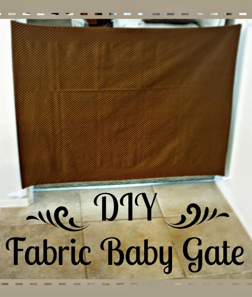 Fabric Baby Gate, Sewed baby gate, baby gate with hooks, how to use command hooks, Easy to move baby gate, easy to clean baby gate, Easy to store baby gate, DIY Fabric Baby gate.