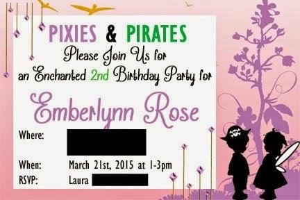 Pirate & Pixie Birthday Party Ideas, Pirate & Pixie Invitations, Pirate birthday food, Pixie Birthday food, Pirate & Pixie Decorations, Fairy birthday Party