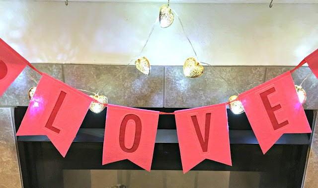 Valentines Day Mantle, Love Mantle, Target Crafts, Dollar Tree Crafts, How to redo your mantle for the holidays, Budget friendly mantle ideas
