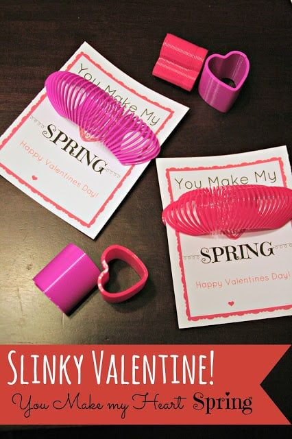 Valentines Day Printable, Valentines Slinky idea, Valentines Printable slinky, Valentines day cards on a budget, creative valentines cards on a budget.