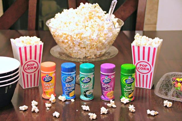 #SnuggleUpMoments, #AD, How to create a popcorn bar, How to create a family movie night, Fun family movie night ideas, popcorn bar ideas
