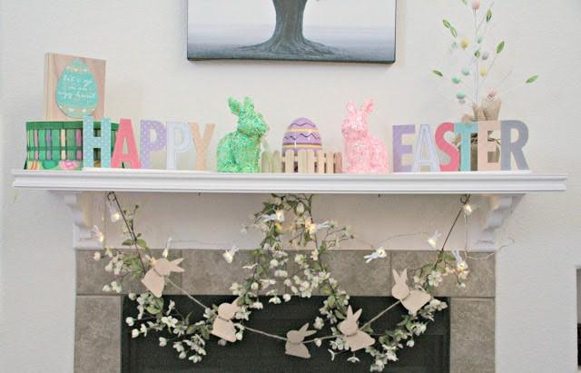 Mantle Makeover, Easter Mantle Ideas, Target Easter, Target Dollar Section,