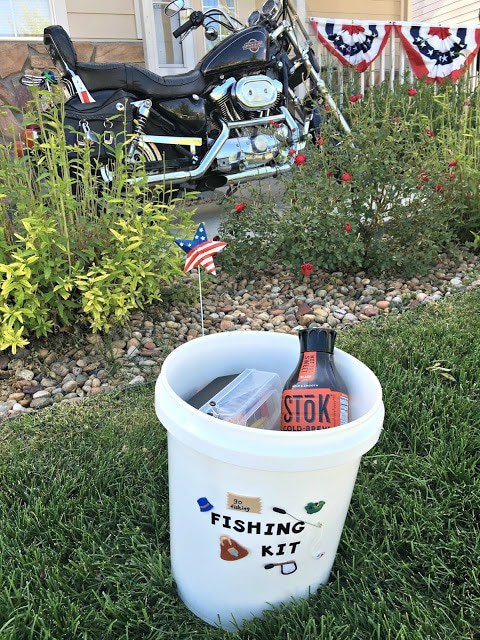 #SToKCoffee, #CBias, #Ad, SToK Iced Coffee, How to create a fishing kit, How to create a travel fishing kit, creative fathers day gifts, fathers day fishing gifts, fishing kit for motorcycles, biker gifts, best gifts for bikers
