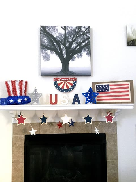 Patriotic Mantle Makeover, 4th of July Mantle Makeover, What to put on a Holiday mantle, July 4th decorations on a budget,