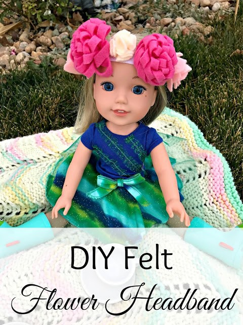 DIY American Girl Accessories, DIY WellieWishers Accessories, DIY Doll flower headband, Felt flower tutorial with pictures, Felt flower headband tutorial, WellieWishers, American Girl