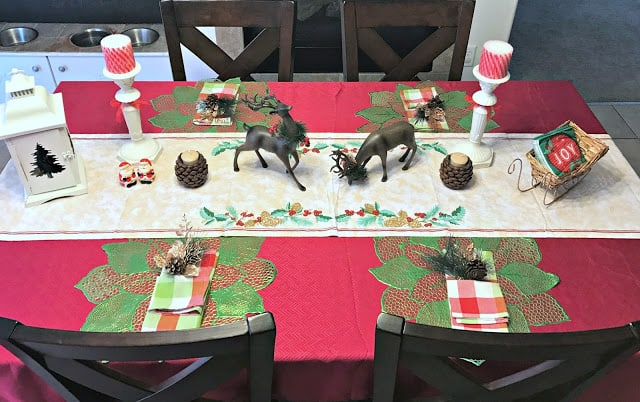 Christmas Deals with Oriental Trading, Christmas table decorations, Easy and affordable Christmas tablescape, Holiday tablescape, Oriental trading table decorations