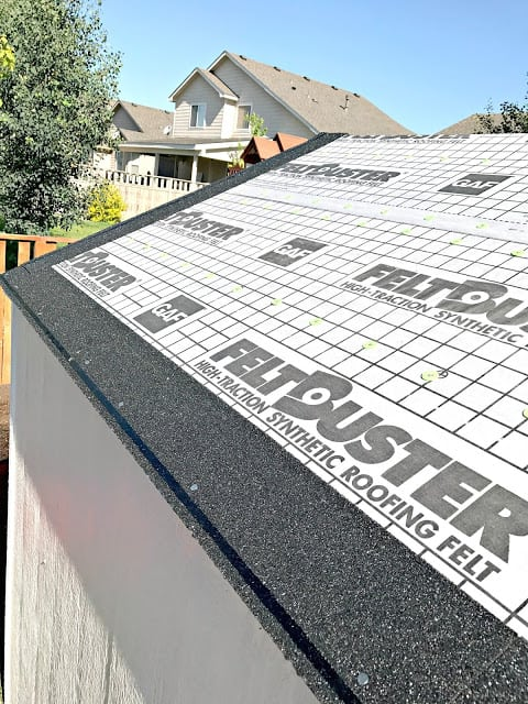 #RoofedItMyself #ad How to roof, Easy guide to roofing small projects, Easy guide to roofing large projects, why do you need a drip edge, how to install start strip shingles, starter strip shingle video, how to install roofing felt, how to install roofing shingles, How to install the roof ridge cap, Lowe's ship to store, GAF Shingles, GAF roofing supplies, GAF Timberline® HD® Shingles, Pictures of how to install a roof, Step by step instructions on roofing, Step by step instructions with pictures on shingle installation