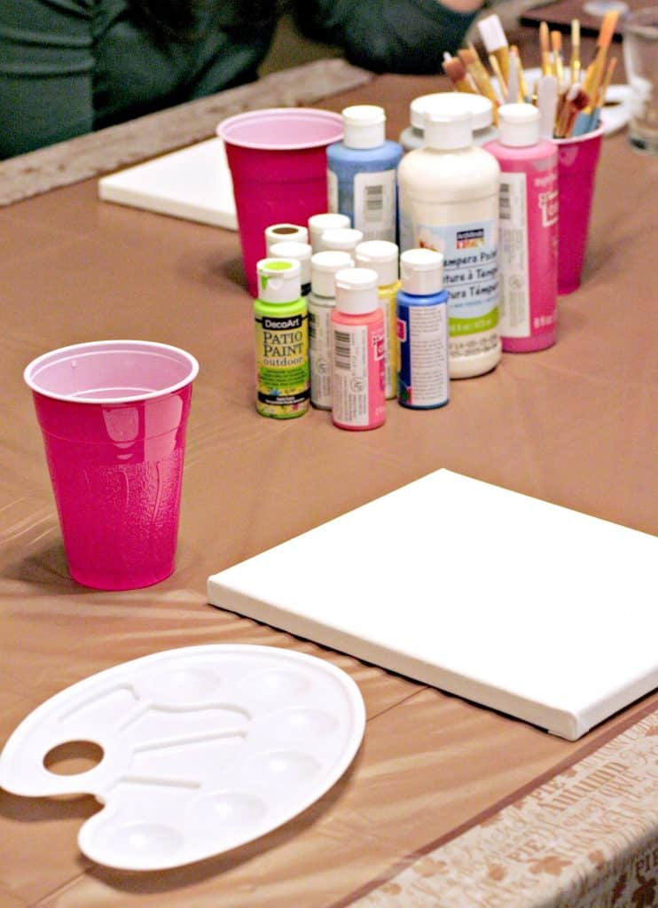 Setting up the easiest paint and sip party