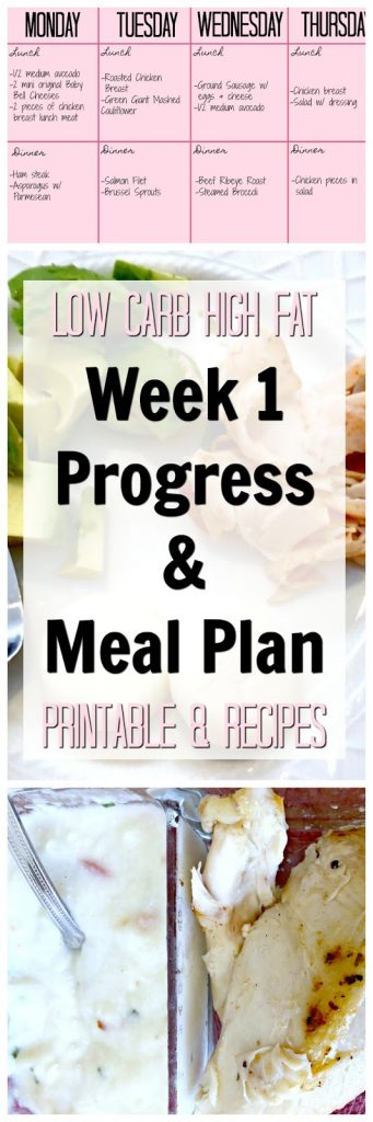 Low Carb High Fat Weekly Meal Plan, Meal plan for LCHF, LCHF expected weekly progress, LCHF easy meals