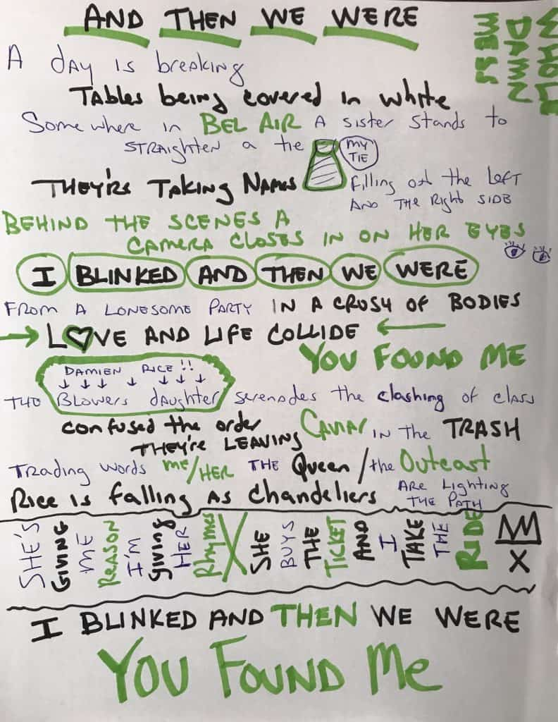 Handwritten Lyric for And There We Were, Whole Damn mess Review, Don and Lisa Miggs