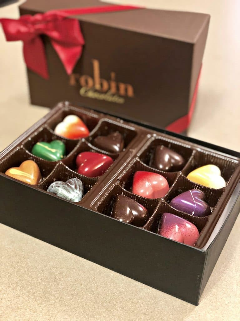 The best chocolates for valentine's day, chocolatiers in Colorado, Colorado chocolatier, Robin's Chocolates valentines hearts, Robin's Chocolates Review