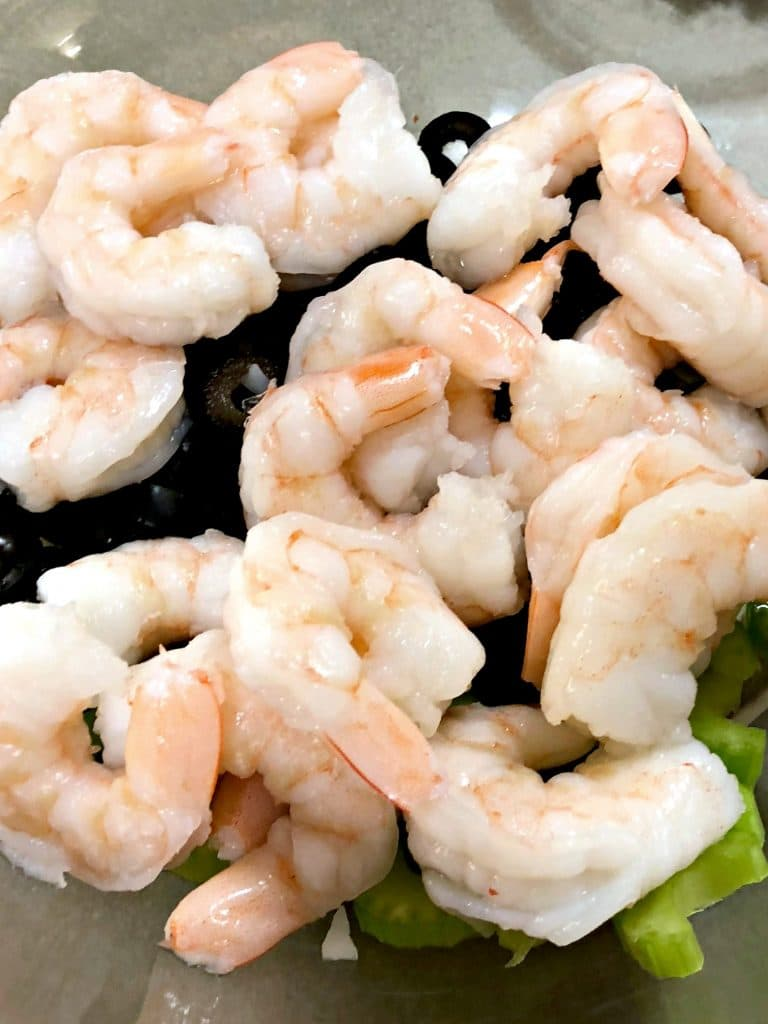 Italian Zucchini Shrimp Salad, Green Giant Veggie Spirals Recipes, How good are Green Giant Veggie Spirals, Low carb shrimp salad, fresh summer seafood salad, zoodle recipes, LCHF easy recipe, Weight Watchers shrimp salad