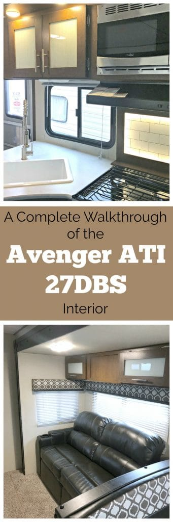 We purchased the 2018 Avenger ATI 27DBS Camping Trailer and decided to share some specs and a walkthrough of the interior. Take a look at the bunk area, the living space, the bedroom, the beautiful kitchen and bathroom spaces.
