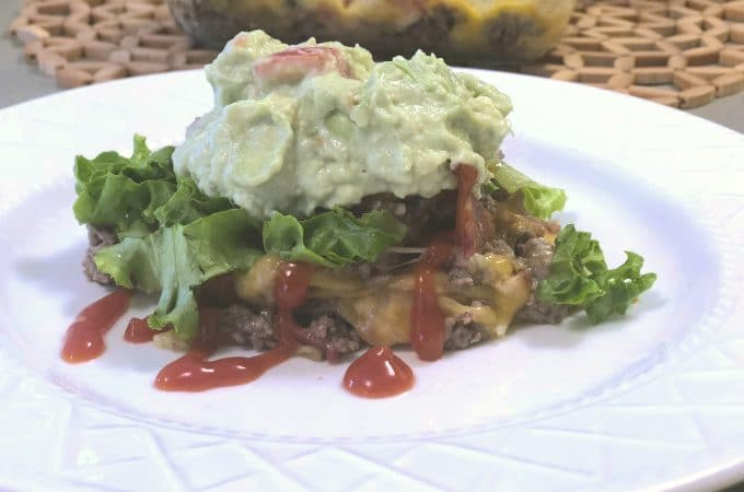 The BEST Low Carb Guacamole Bacon Ranch Cheeseburger Casserole