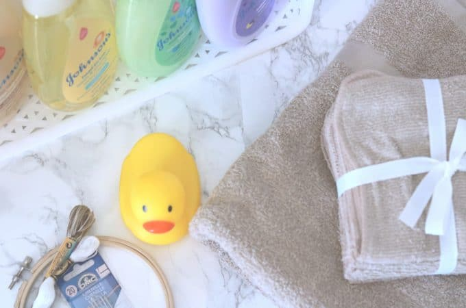 Baby Bath Essentials Kit with Personalized Hooded Towel Tutorial