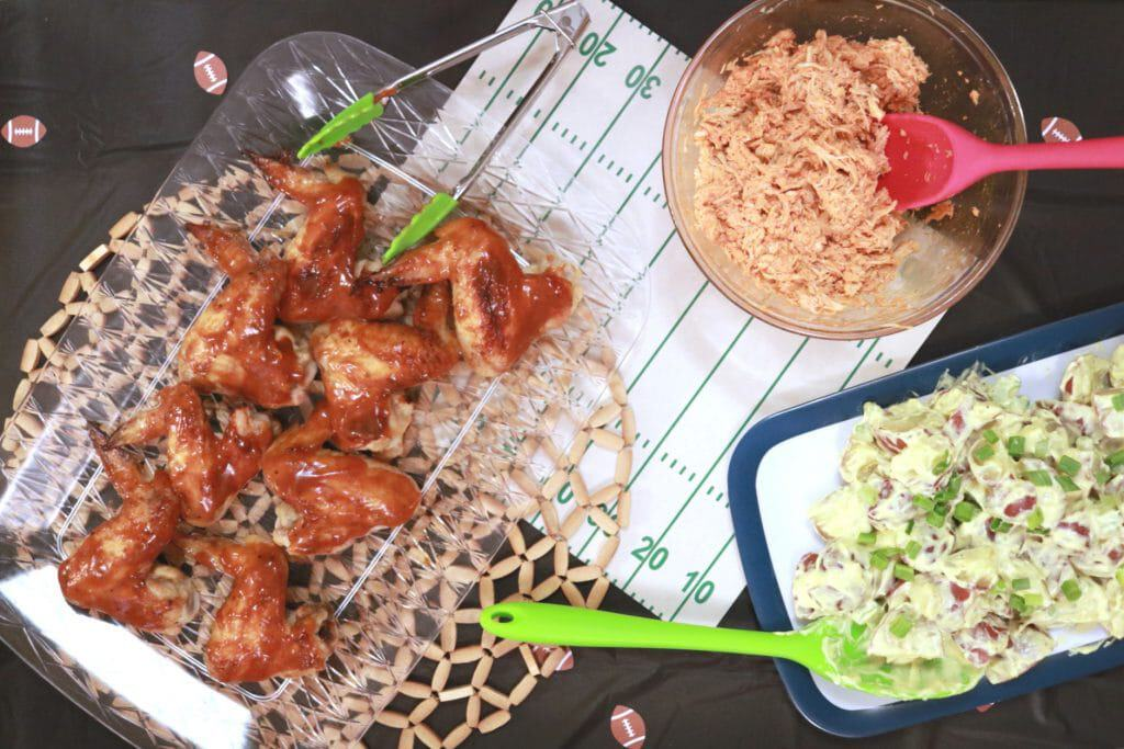 easy and delicious homegating party, how to throw a football party at home, easy recipes for a football party, how to host a simple football party, weber sweepstakes, mccormick sweepstakes, french's potato salad recipe, stubb's wing recipe, easy buffalo chicken nachos