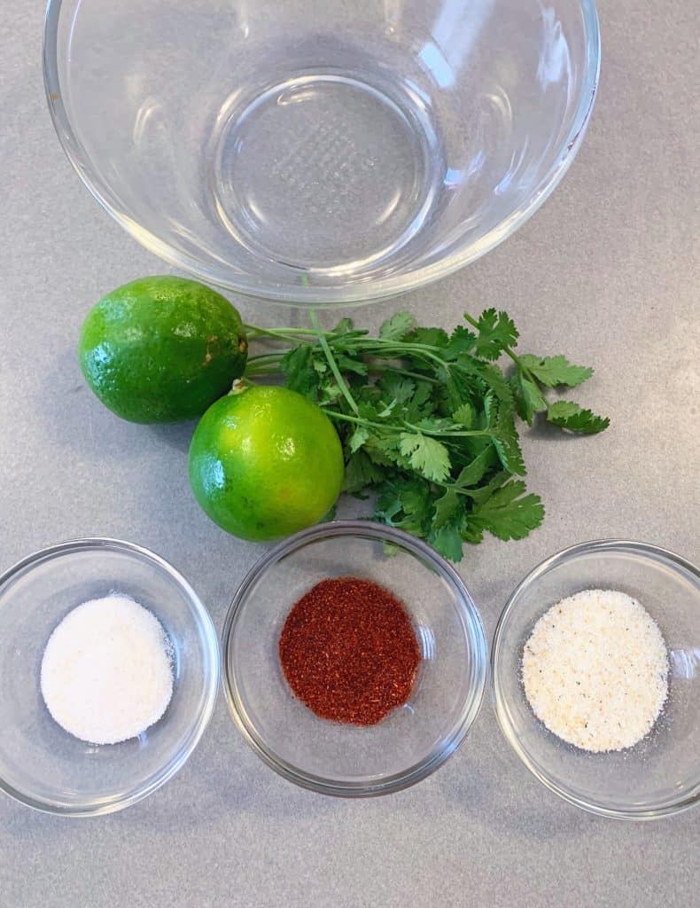 Ingredients for chili lime marinade