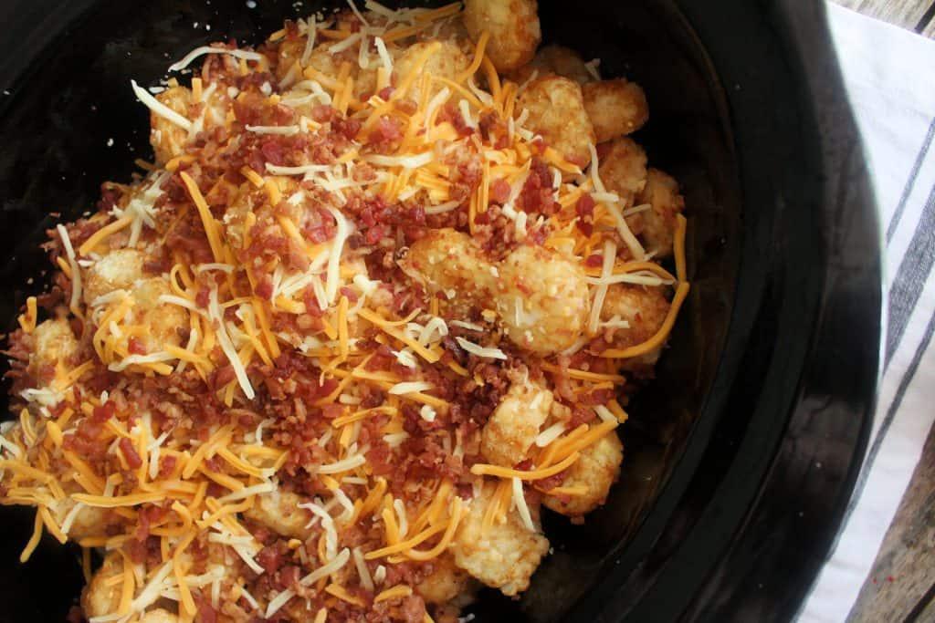 Layers of cheesy chicken bacon casserole