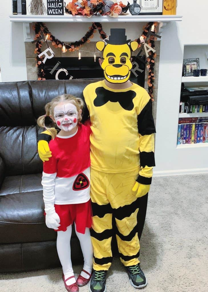 DIY FNAF Baby and Golden Freddy Costumes