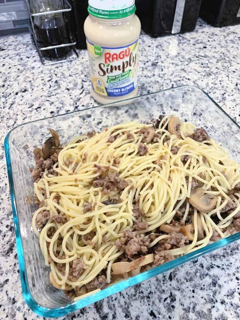 Putting the spaghetti bake together