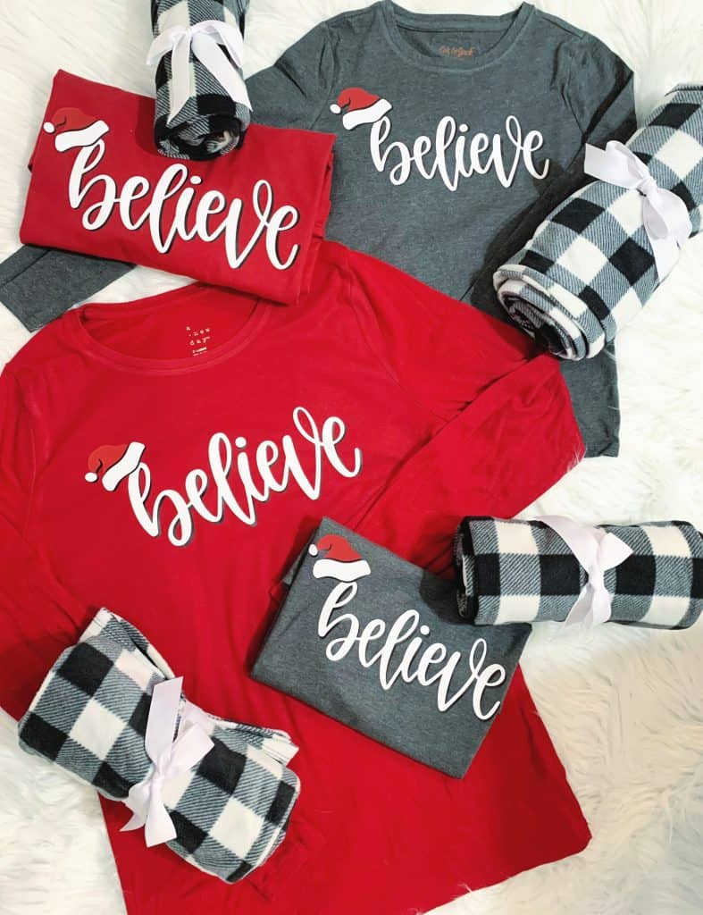 Red, Gray and black buffalo plaid Believe Iron On Family Pajamas