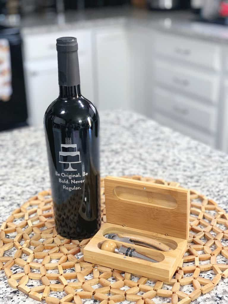 Personalized wine bottle and tool set