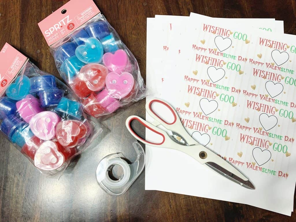 supplies to make a slime valentine