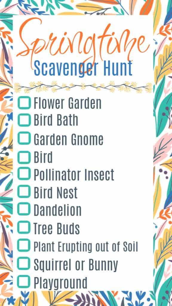 Springtime Scavenger Hunt Checklist