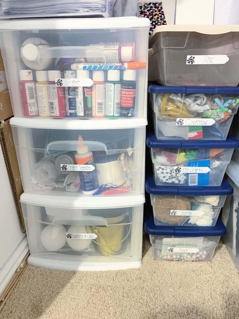 Craft bin organization