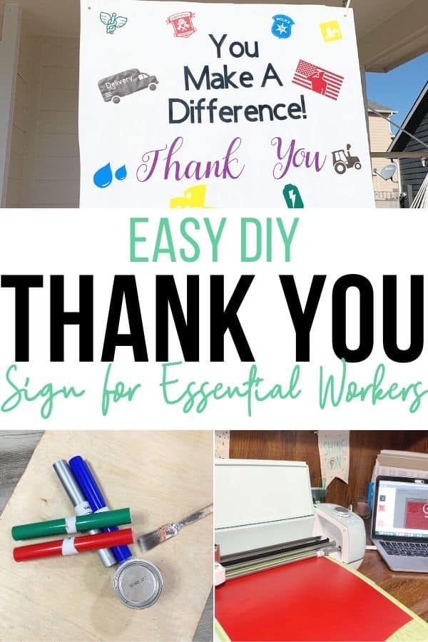 Easy DIY Thank you Sign for essential workers