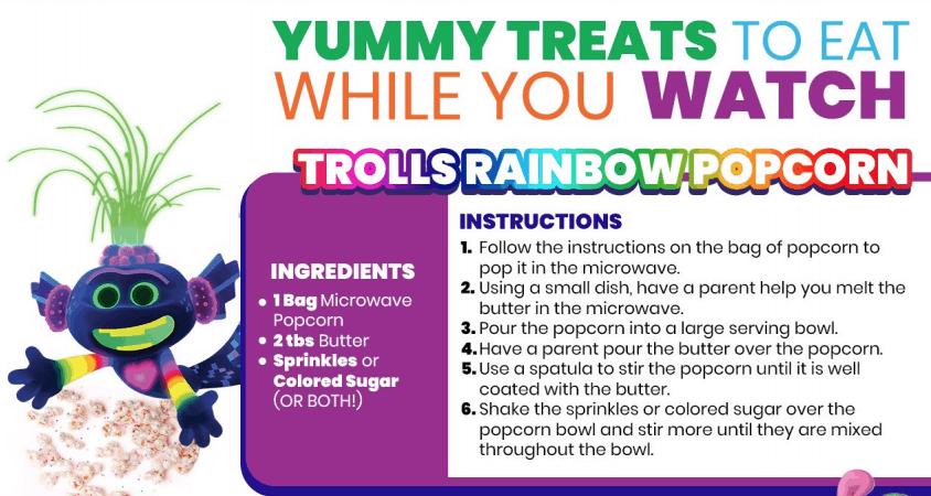 Trolls 2 Rainbow popcorn recipe