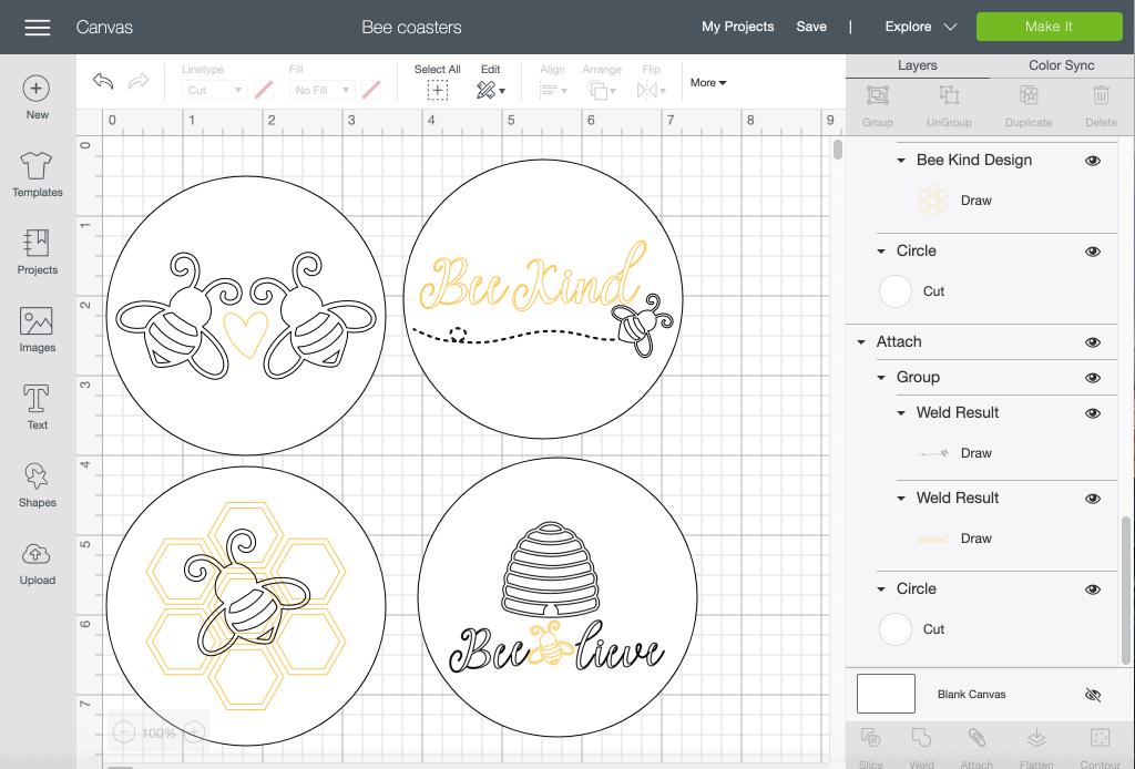 Bee Coasters in Cricut Design Space
