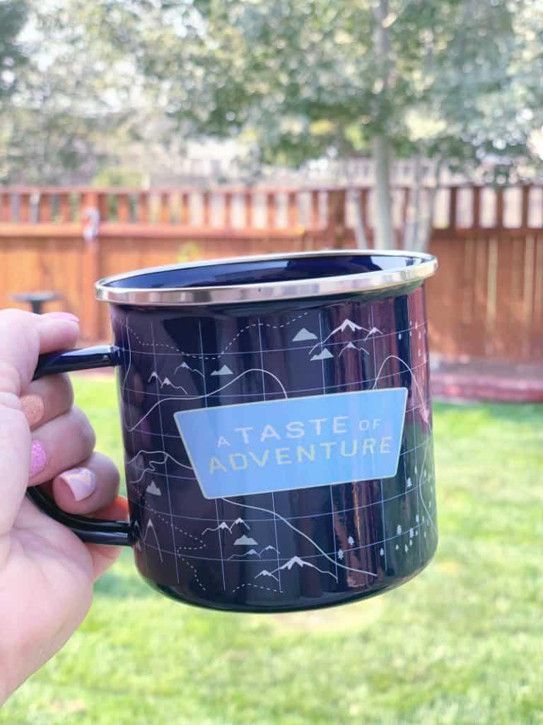 Cup of coffee in backyard