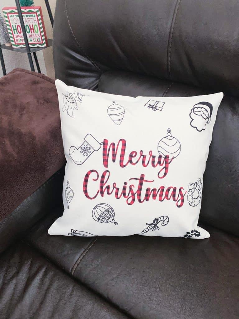 DIY Merry Christmas Pillow with Cricut