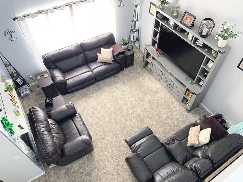 Earthy living room design final reveal