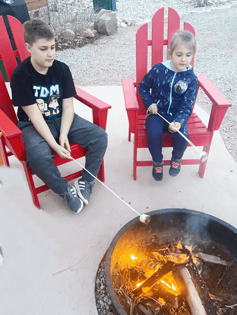 Firepit at Moab KOA Deluxe Cabin