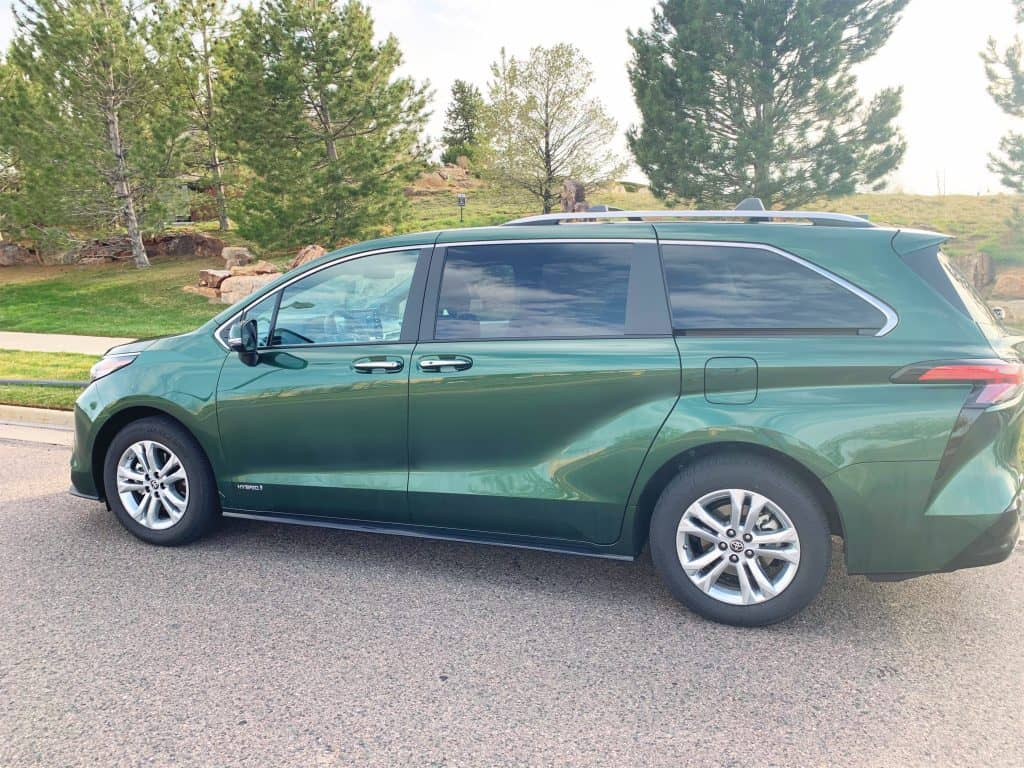 Exterior of 2021 Toyota Sienna in Cypress green